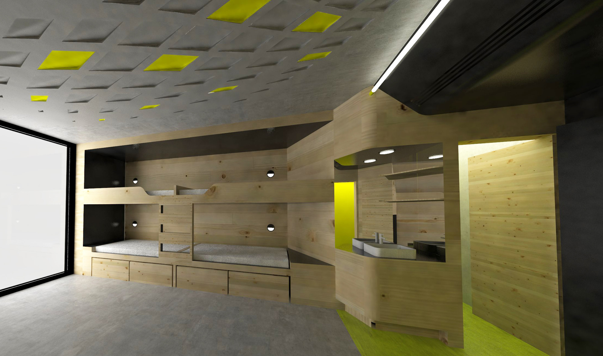 Lava reinvents the youth hostel with sport oriented design for Decor do hostel