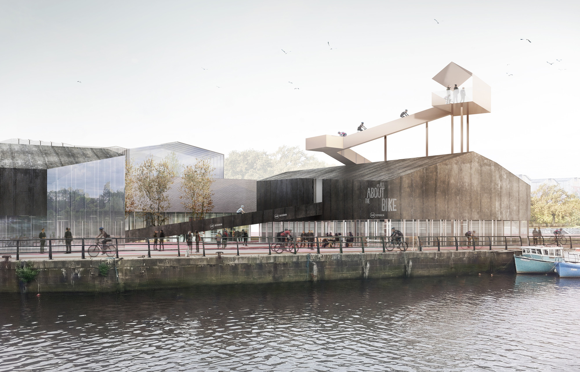 AWP Designs Cycle Centre Lookout for Newcastle's Malmo Quay, © sbda