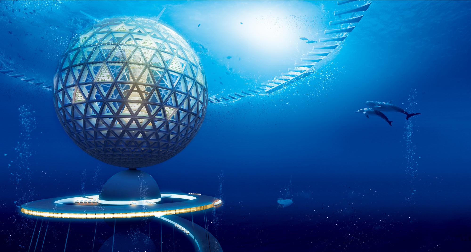 Concepto de ciudad submarina futurista de Shimizu Corporation, ¿saldrá a flote o se hundirá?, Cortesía de Shimizu Corporation