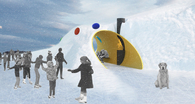 Shelter Winner: The Hole Idea / Weiss Architecture & Urbanism Limited (Toronto). Image Courtesy of Warming Huts