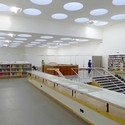 Looking toward the central circulation desk. Image Courtesy of The Finnish Committee for the Restoration of Viipuri Library