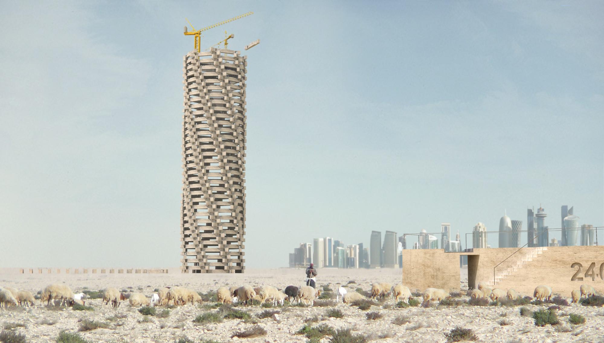 Towering Folly: un momumento que crece a medida que aumenta la cifra de muertos en Qatar, Cortesía de 1week1project