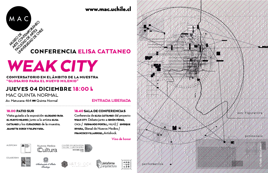Conferencia de Elisa Cattaneo: Weak City / Santiago