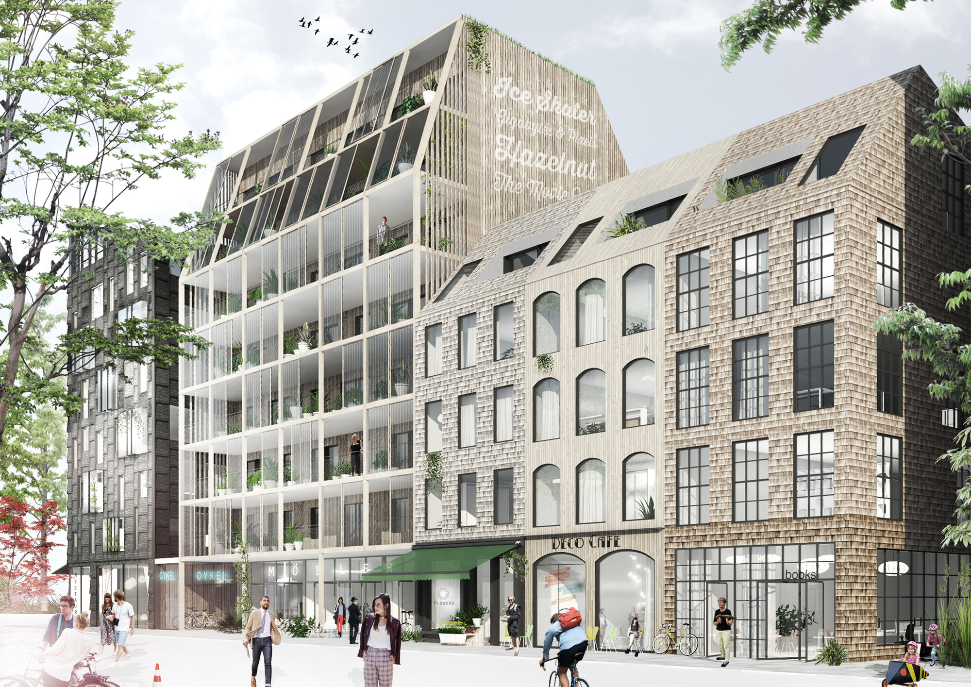 Kjellander + Sjöberg Take First Place with Rosendal Apartments, Street View of Exterior. Image Courtesy of Kjellander + Sjöberg