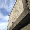 "The Y-block in Oslo. Detail of exterior with Picasso's ""The Fishermen"", sandblast by sculptor Carl Nesjar. Image © Einar Bjarki Malmquist"