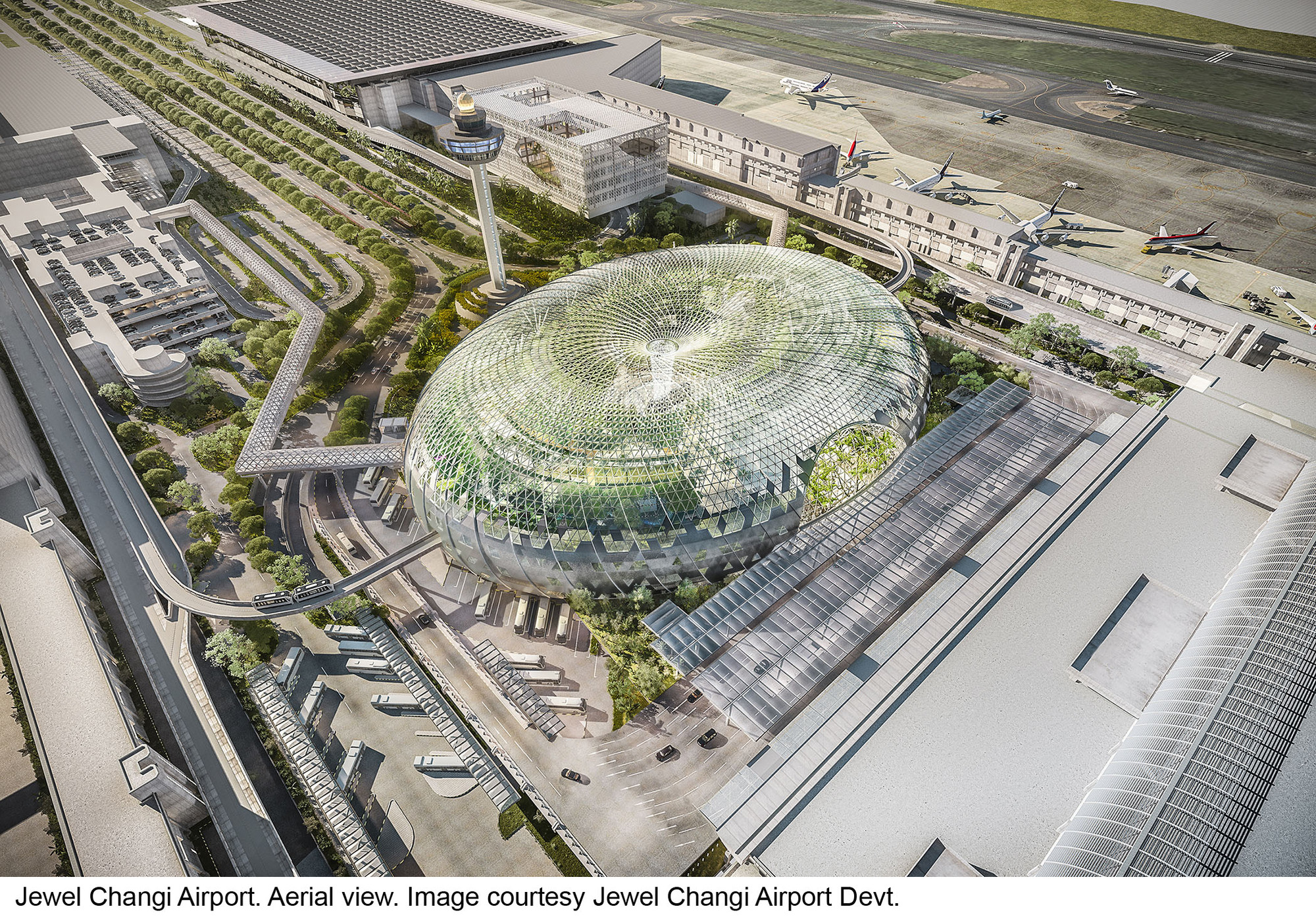 "Safdie Architects Design Glass ""Air Hub"" for Singapore Changi Airport, © Safdie Architects"