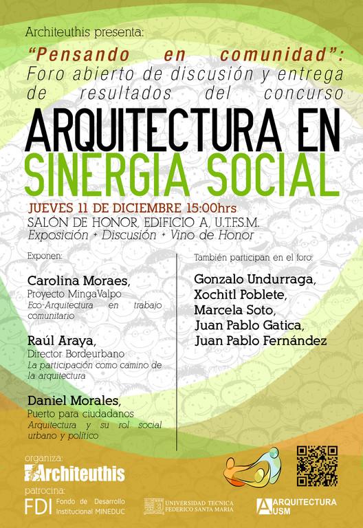 """Foro de discusión y resultados del concurso """"Arquitectura en Sinergia Social"""" / Valparaíso, Chile"""