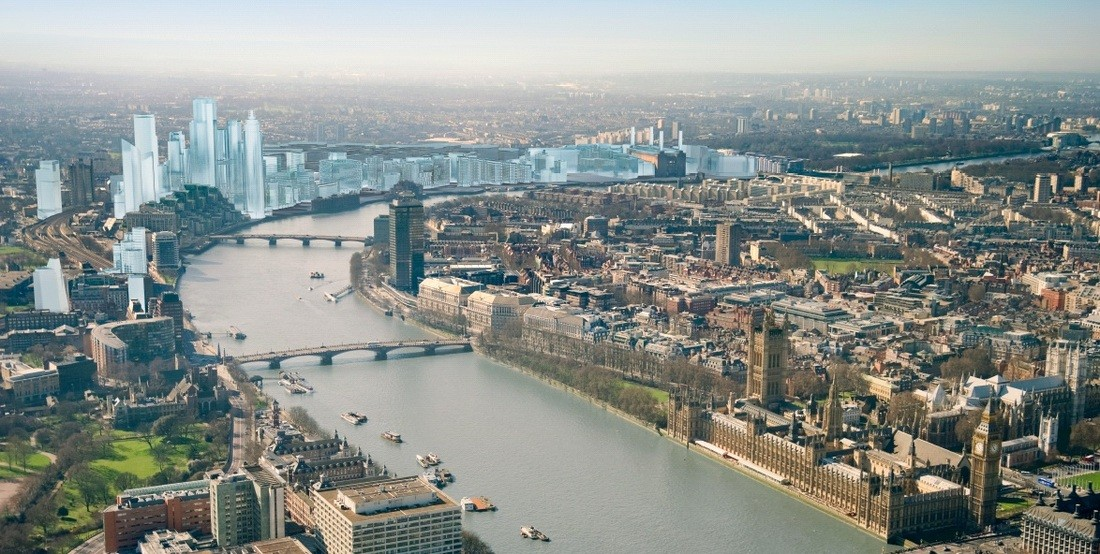 London Launches Call for Architects to Design Second Pedestrian Bridge, Nine Elms on the South Bank skyline, looking west. Image © St James' Group