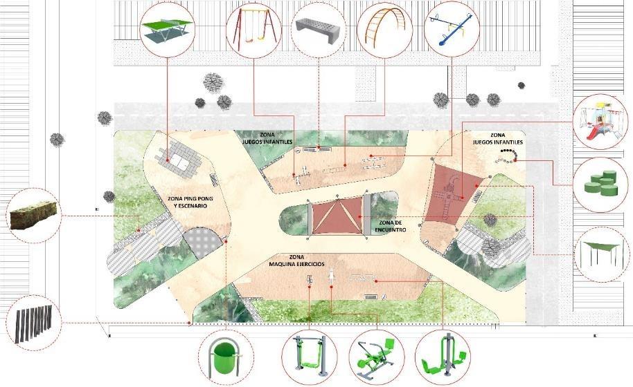 """Áreas verdes barriales. Caso de """"Plaza La Esperanza, Villa Andes 1, comuna San Bernardo. Image Cortesia de Mi Parque"""