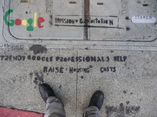 Grafitti in San Francisco demonstrating the tensions between Silicon Valley workers and other residents. Image via Affordable Housing Institute