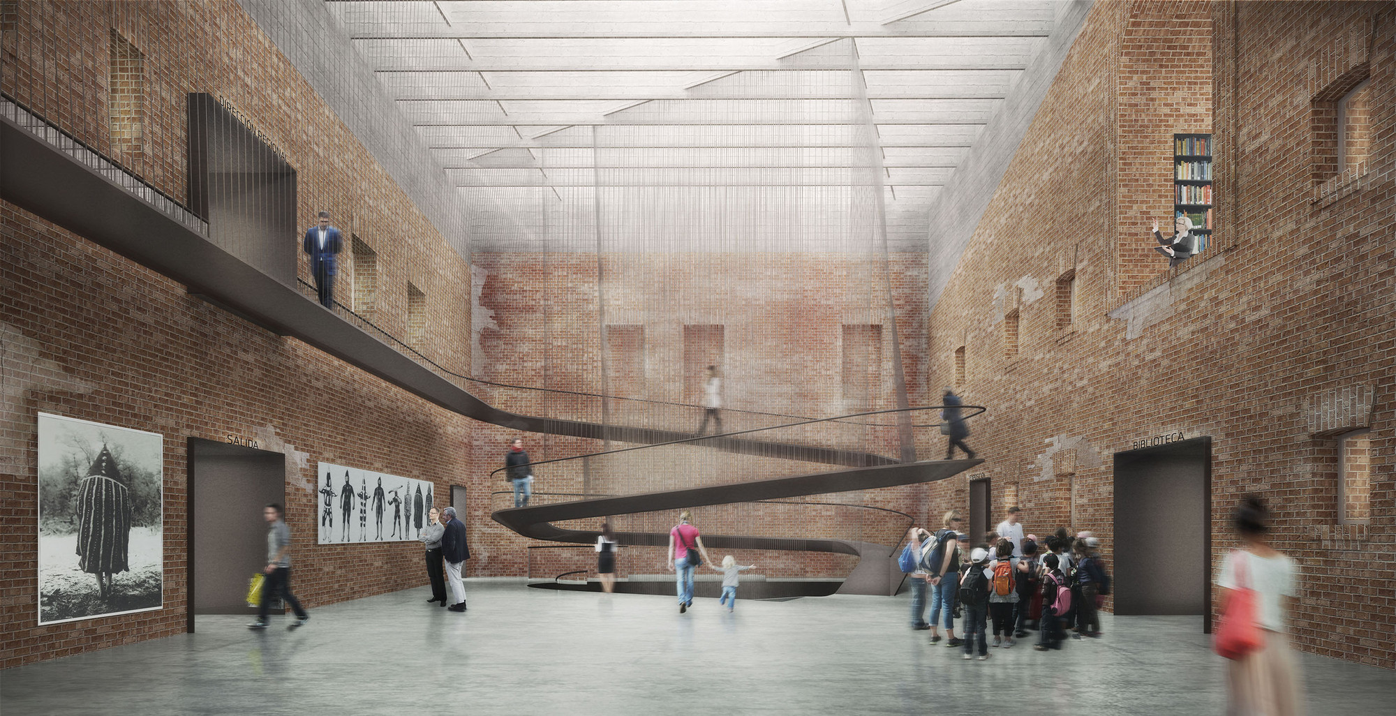 Segundo Lugar en concurso de habilitación y construcción Archivo y Biblioteca Regional de Punta Arenas / Chile, Hall de acceso. Image Cortesia de LyonBosch Arquitectos y B+V Arquitectura
