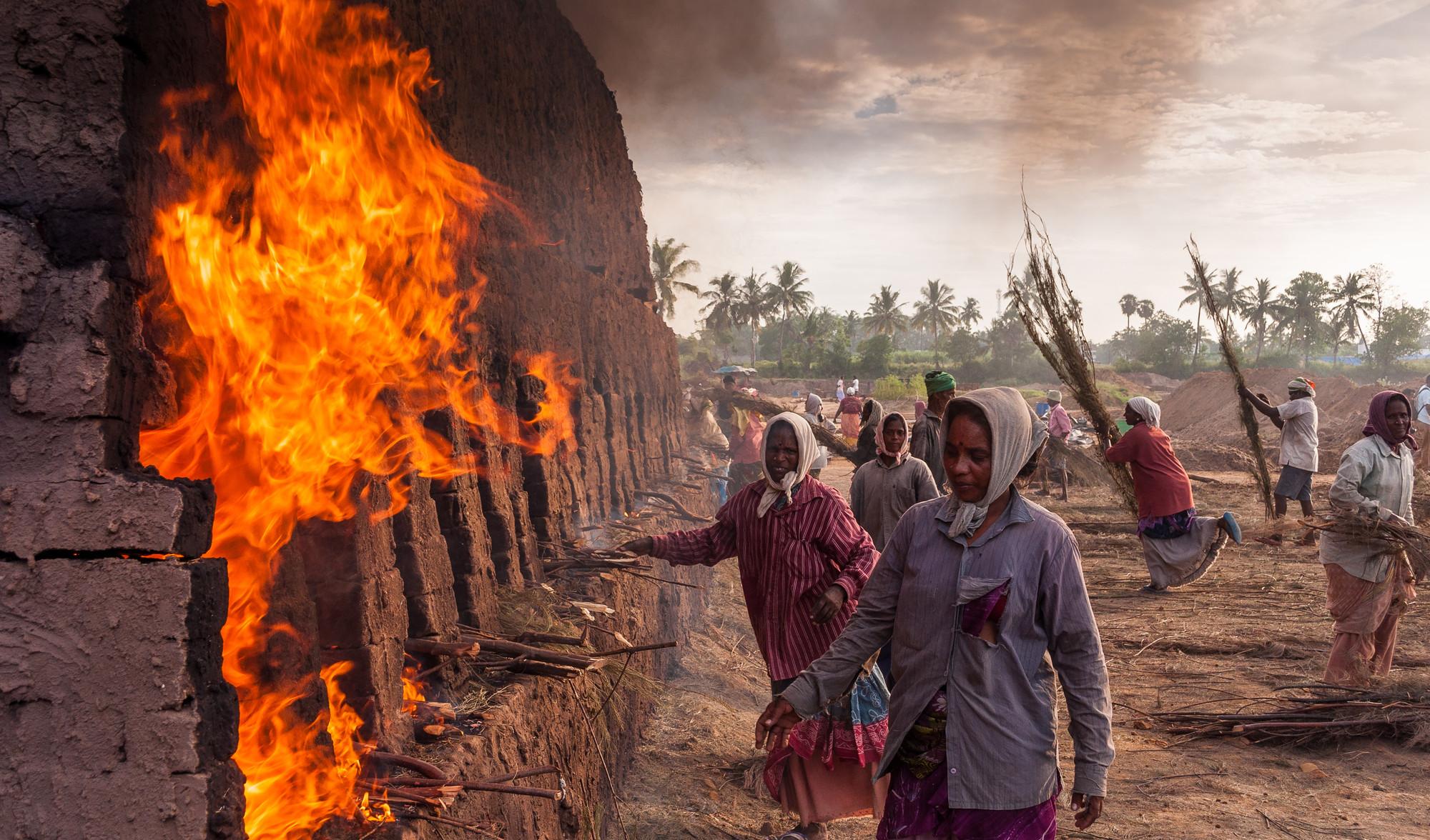 Near to fire for bricks. Image © Rajaram