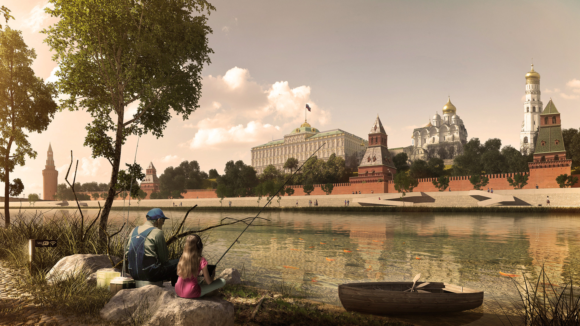 Project Meganom Wins Contest to Transform Moscow Riverfront, Fishing on Kremlin © Courtesy of Project Meganom
