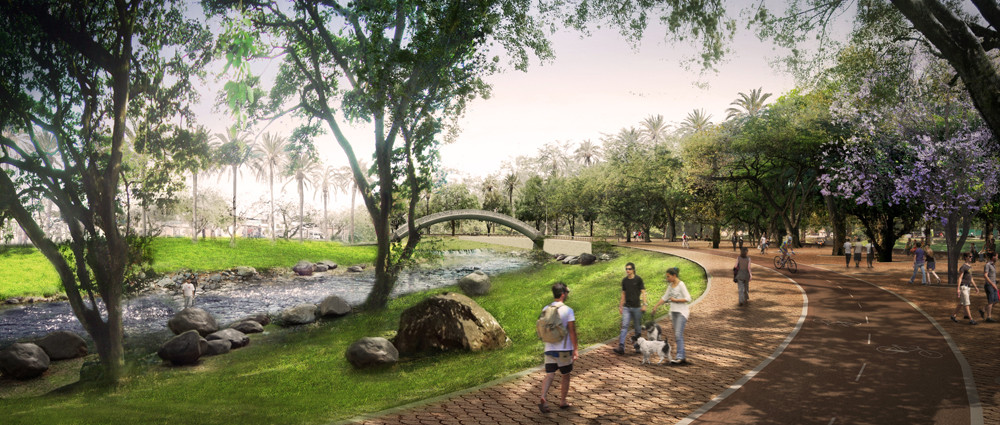West 8 Set to Revitalize Colombia's Rio Cali Park, Paseo Linear. Image Courtesy of West 8