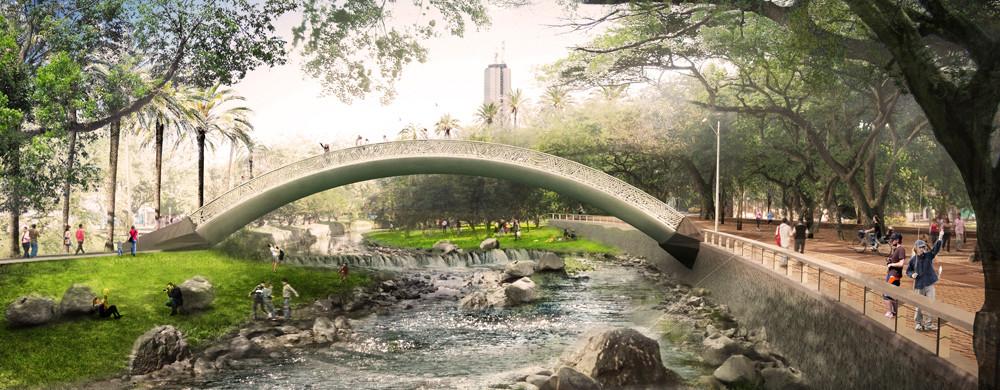 Puente del Parque Lineal. Imagen cortesía de West 8