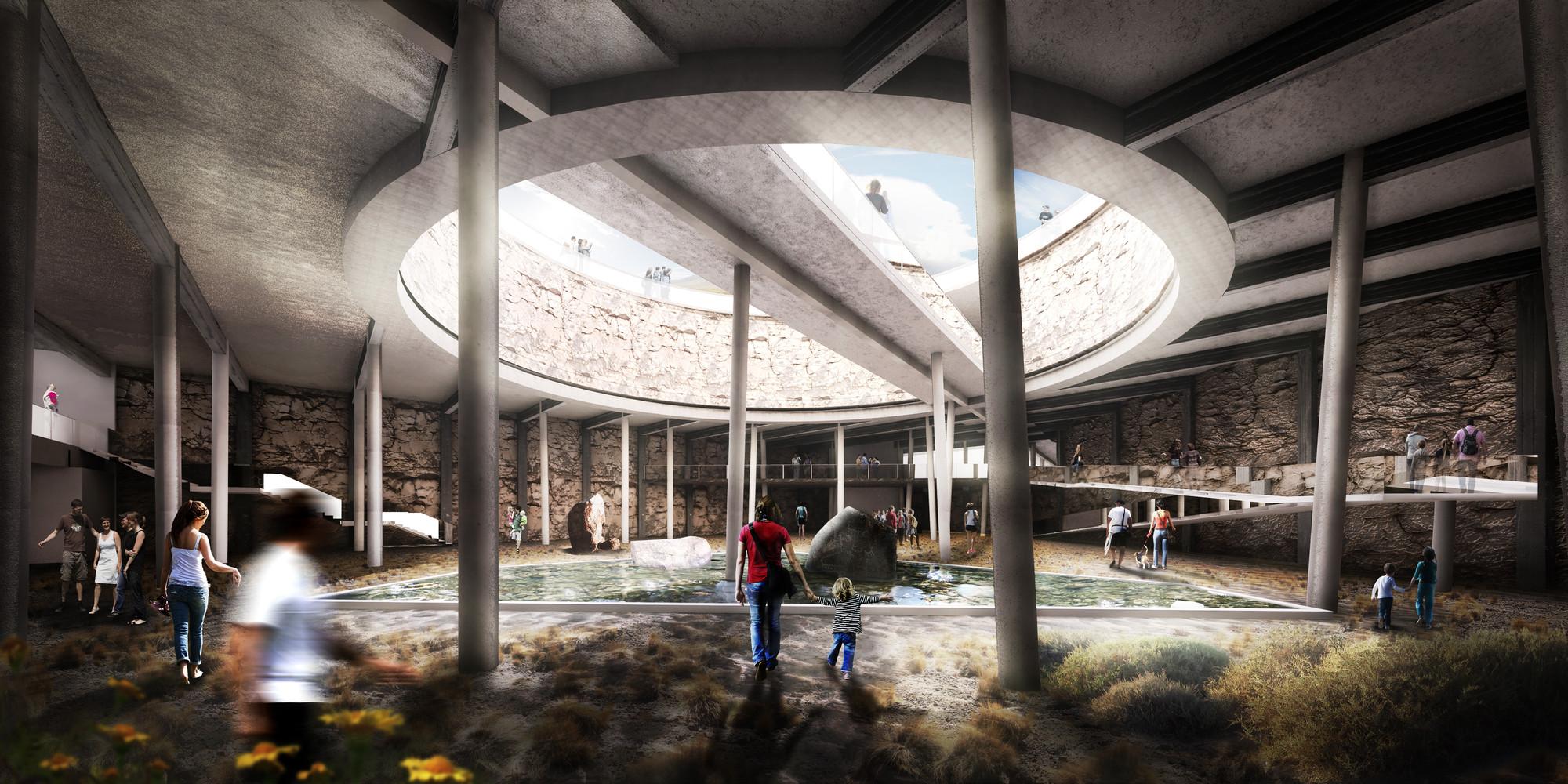 Jardín Botánico de Calama, ganador del primer concurso de arquitectura subterránea en Chile, Jardín Botánico de Calama, primer lugar en CTES 2014. Image Cortesia de Leonardo Quinteros y Luis Pérez
