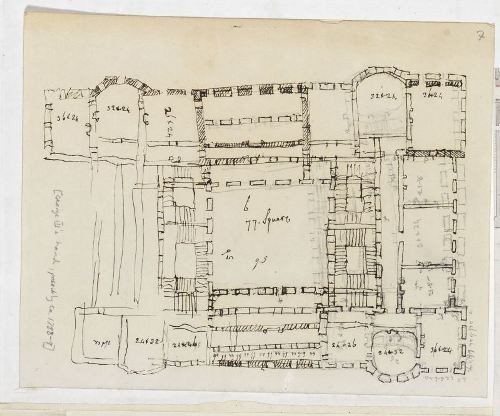 George III, Sketch of a palace floor plan, 1785-9. British Library Maps 7.TAB.17. Image Courtesy of British Library