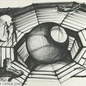 """Design of """"Zero Gravity"""" for Moonraker, GB/F 1979, Directed by Lewis Gilbert. Image© Sir Ken Adam, Deutsche Kinemathek – Ken Adam Archive"""