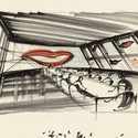 "Design of ""Maxine Grey Conference Room"" for Company Business, USA/D 1991, Directed by Nicholas Meyer. Image © Sir Ken Adam, Deutsche Kinemathek – Ken Adam Archive"