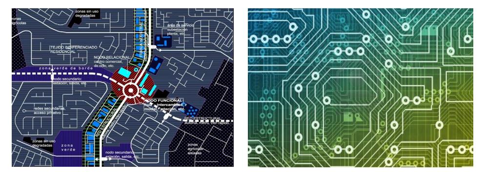 Esquema de estructura de redes y nodos característico de una ciudad contemporánea (izquierda) y esquema de un circuito integrado (derecha); el segundo se asemeja a los sistemas de comunicaciones de transportes que definen la imagen de las ciudades actuales.. Image Cortesia de Miguel Gómez Villarino