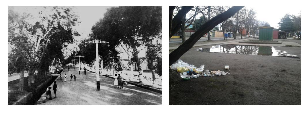 Paseo de Balmaceda histórico (izquierda) y en la actualidad (derecha): degradación del espacio público.. Image Cortesia de Miguel Gómez Villarino