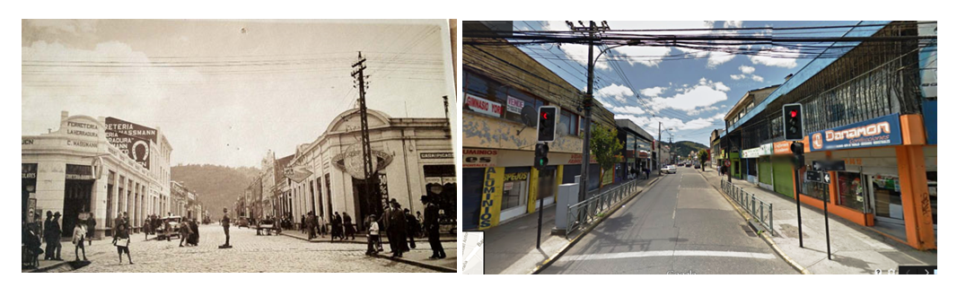 Calle Bulnes antiguamente (izquierda) y en la actualidad (derecha): desmaterialización de las fachadas. Image Cortesia de Miguel Gómez Villarino