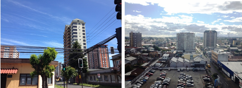 Condominios 'verticales' surgen en el centro por sobre el primitivo zócalo residencial.. Image Cortesia de Miguel Gómez Villarino