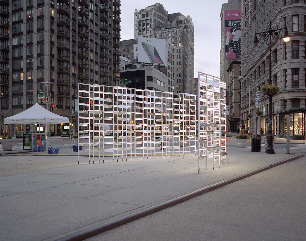 inaba frames empire state building with animated new york light installation naho