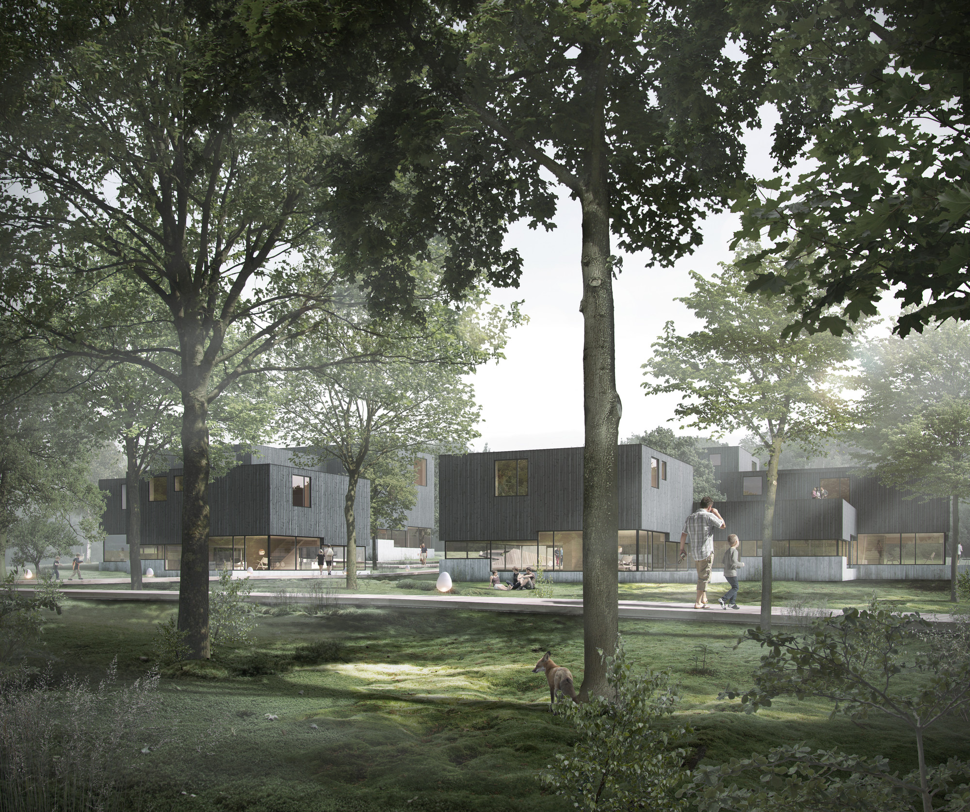 Friis & Moltke Designs Housing Complex as Conceptual Scandinavian Forest , © Friis & Moltke