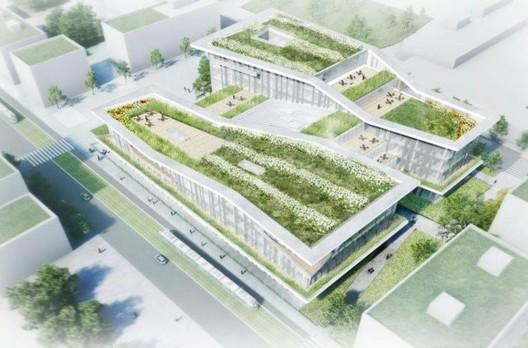 Vista aérea de biblioteca del Campus Condorcet. Imagen cortesía de Elizabeth de Portzamparc / Conseil régional Ile-de-France, 2014