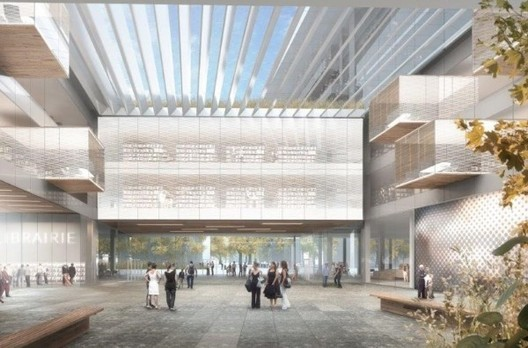 Vista del átrio de biblioteca del Campus Condorcet. Imagen cortesía de Elizabeth de Portzamparc / Conseil régional Ile-de-France, 2014