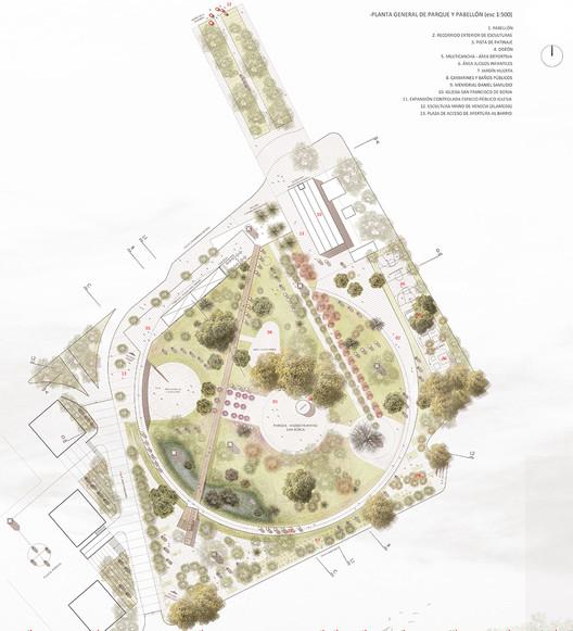 Planta general de parque y pabellón
