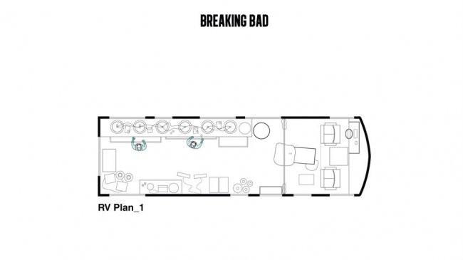 La planta del laboratorio portátil de metanfetamina de Walter White y Jessie Pinkman en 'Breaking Bad'. Image Cortesia de Interiors Journal
