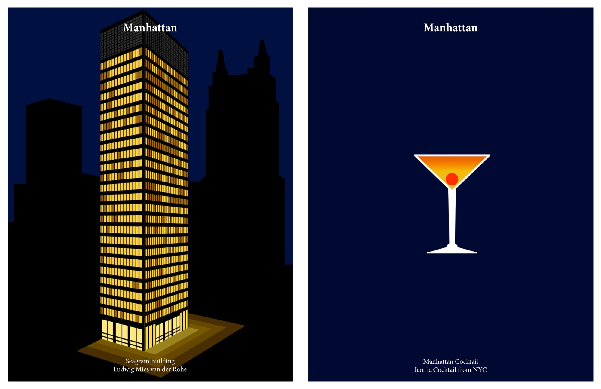 Seagram Building by Mies van der Rohe / Manhattan Cocktail. Image Courtesy of Kosmos Architects