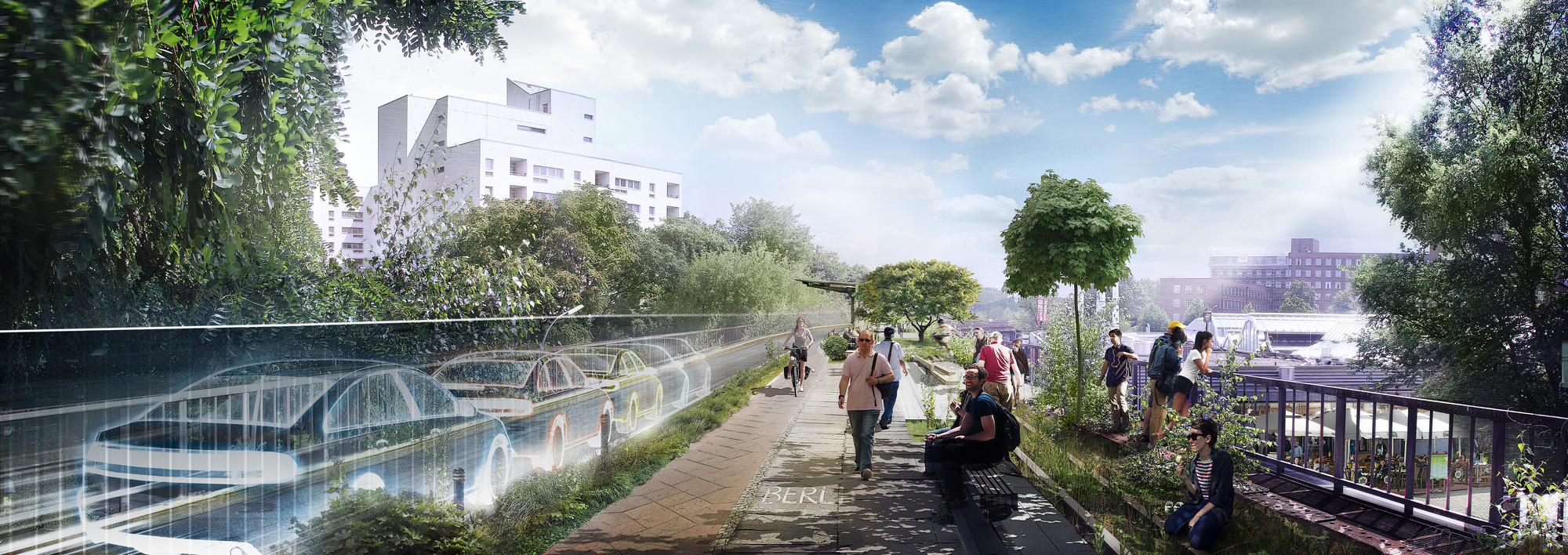 "Proposal for the ""Flyway"" on the Siemens Line. Image © Audi Urban Future Initiative"