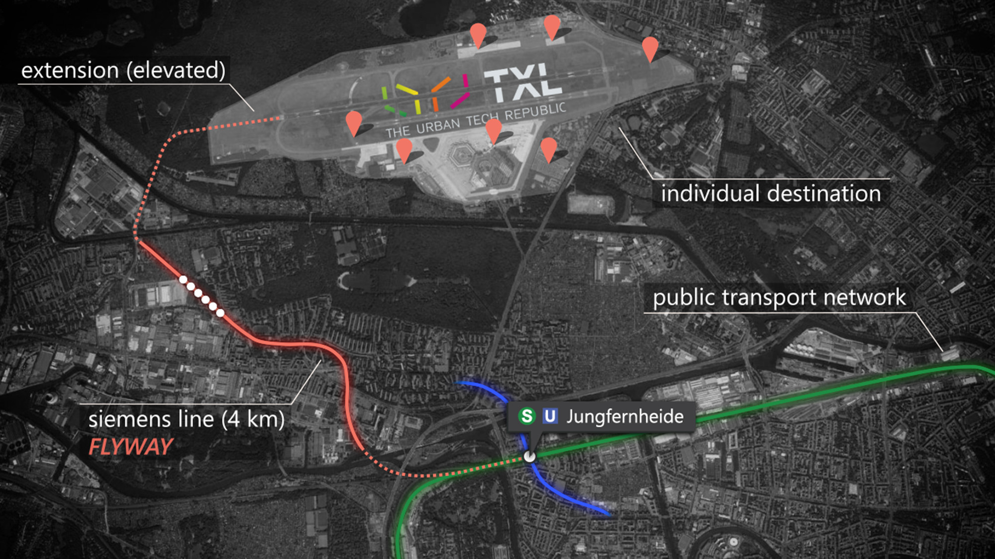 The Flyway would connect Tegel Airport to Jungfernheide station. Image © Audi Urban Future Initiative