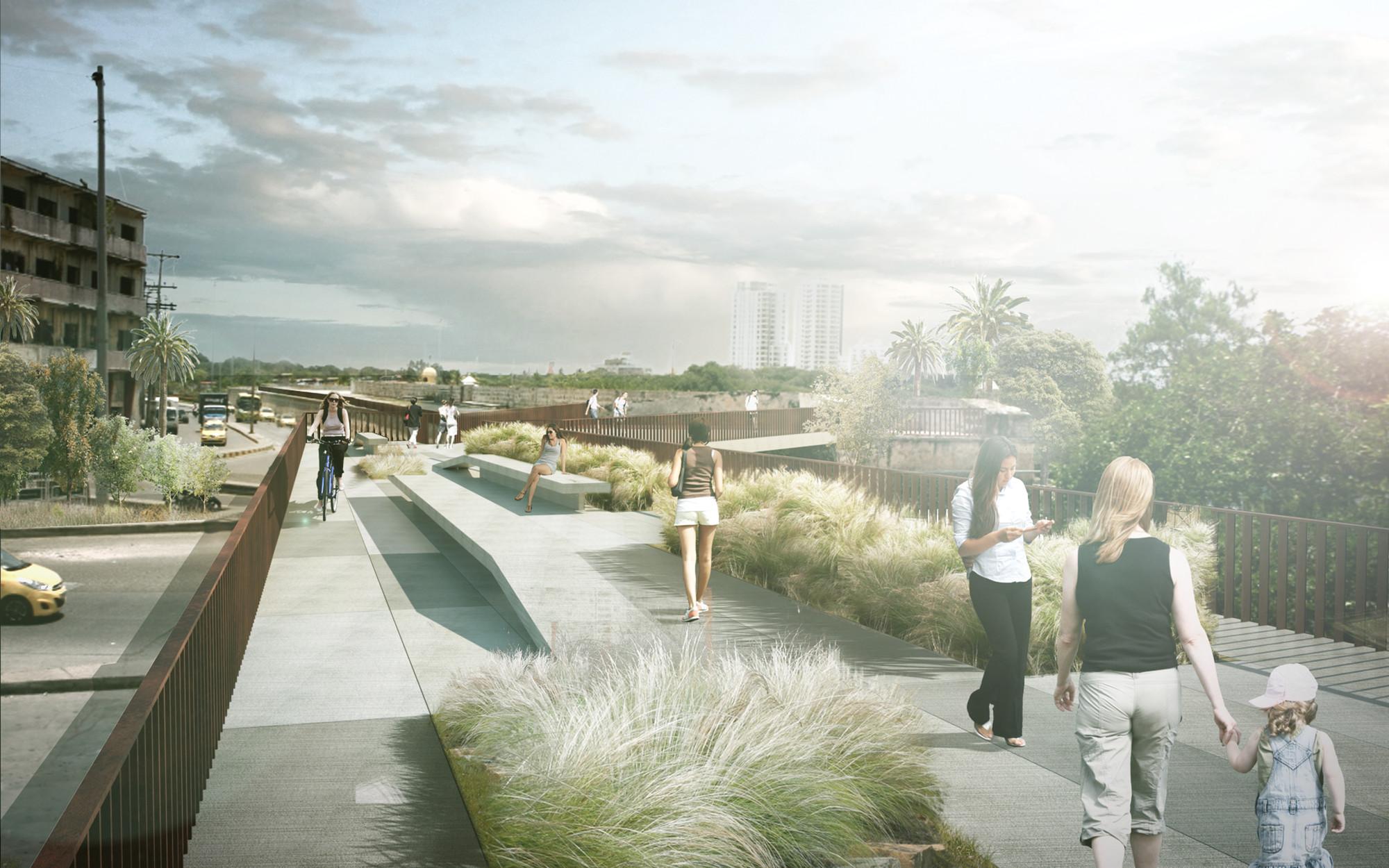 MOBO diseñará nuevos enlaces peatonales en las murallas de Cartagena de Indias, La Media Luna. Imagen © M.O.N.O.M.O.
