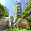 Antismog Towers from street level. Image Courtesy of Vincent Callebaut Architecture