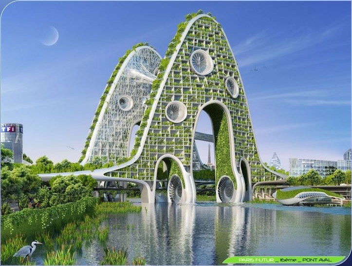 Bridge Tower. Image Courtesy of Vincent Callebaut Architecture