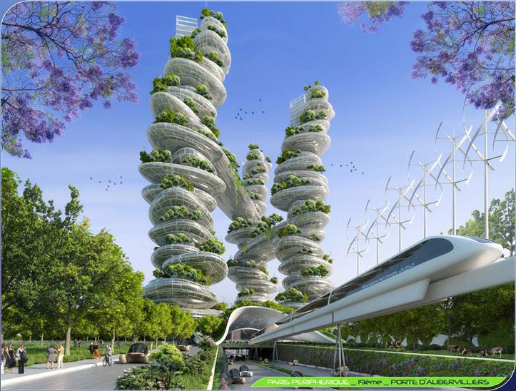 Farmscrapers Towers from street level. Image Courtesy of Vincent Callebaut Architecture