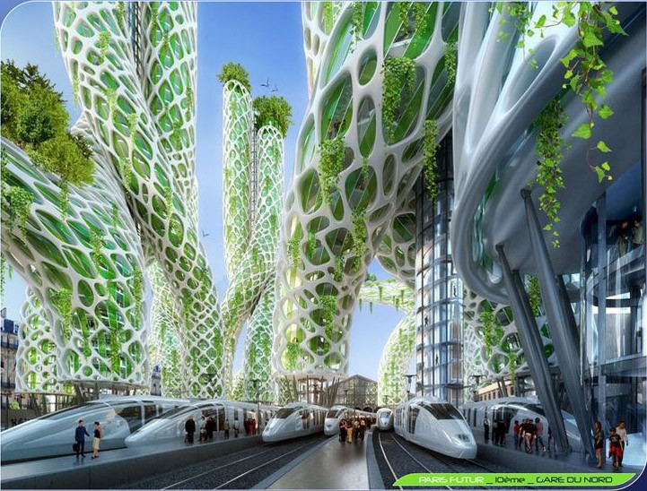 Mangrove Towers from street level. Image Courtesy of Vincent Callebaut Architecture