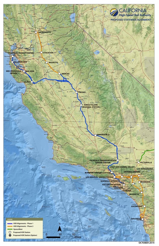 Proposed Statewide Alignment Map. Image Courtesy of Rail LA