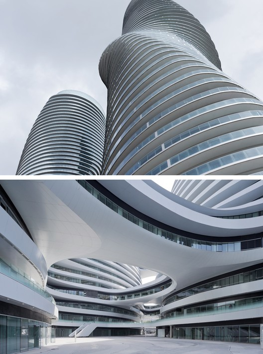 Above, MAD Architecture's Absolute Towers and below Zaha Hadid Architects' Galaxy Soho. Image © Iwan Baan