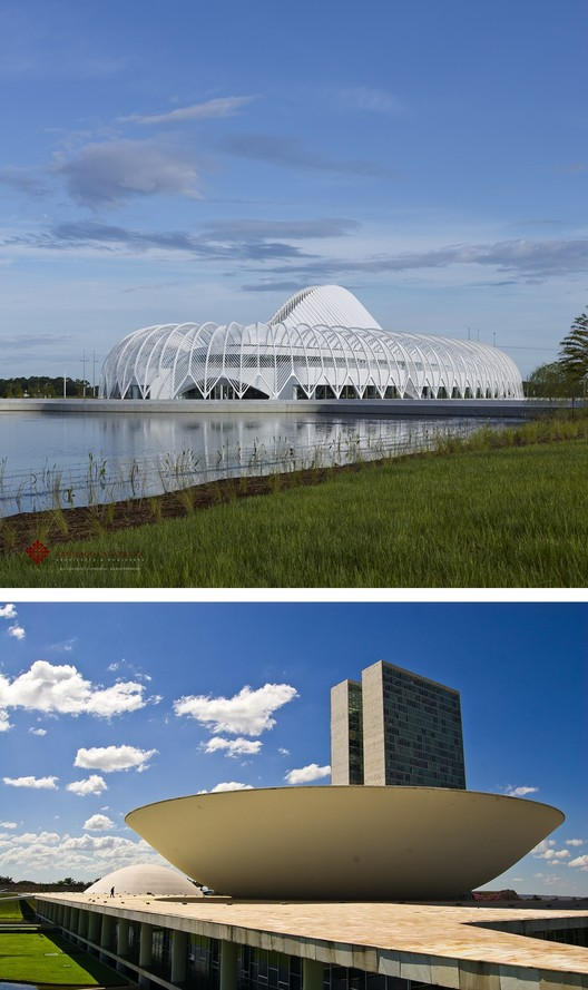 Above, Santiago Calatrava's Florida Polytechnic compared to Oscar Niemeyer's Brasilia Congress Building. Image © Alan Karchmer for Santiago Calatrava and © Flickr CC user Christoph Diewald