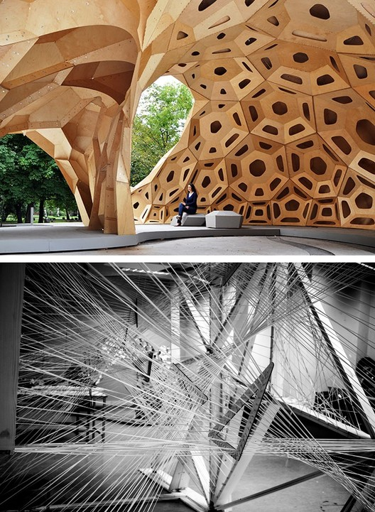 "Above, the 2011 ICD | ITKE Research Pavilion, and below ""Kinetic Haze"" from the AA's 2014 Athens Visiting School. Image © Alice Mangoyan and © ICD / ITKE University of Stuttgart"