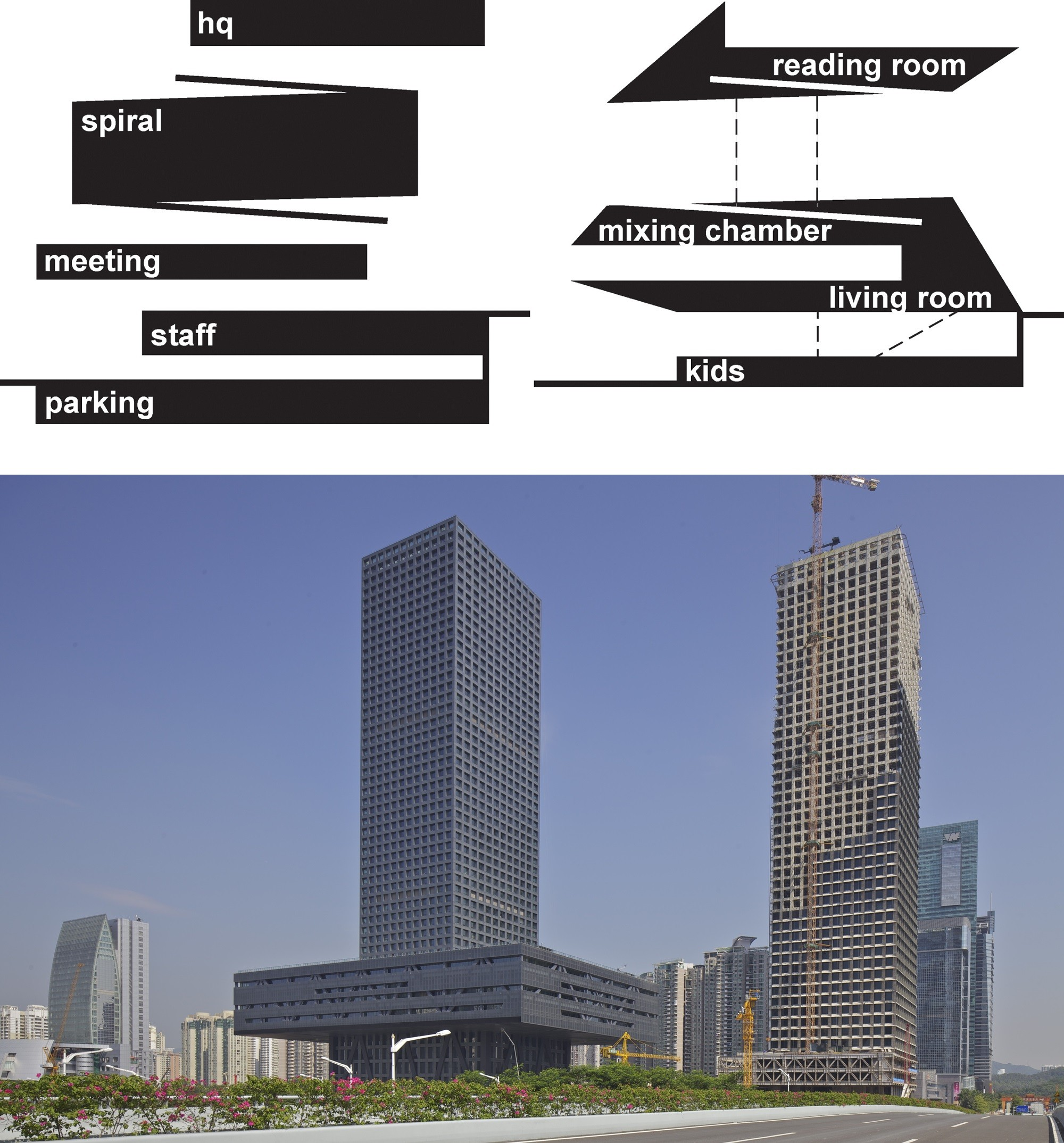 Above, diagrams outlining the layout of OMA's Seattle Central Library, and below the Shenzhen Stock Exchange. Image Courtesy of OMA and © Philippe Ruault
