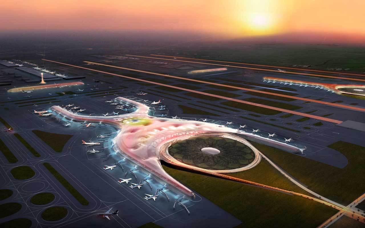 Foster + Partners and FR-EE - Fernando Romero EnterprisE's winning scheme for the Mexico City Airport expansion (click to learn more). Image Courtesy of DBOX for Foster + Partners