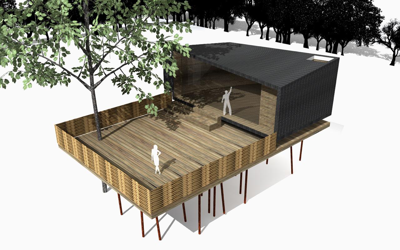 Eco shelter rendering, Refugio Nasua.. Image © fabrica de ideas (Juan Esteban Correa Elejalde and Julián Felipe Villa)