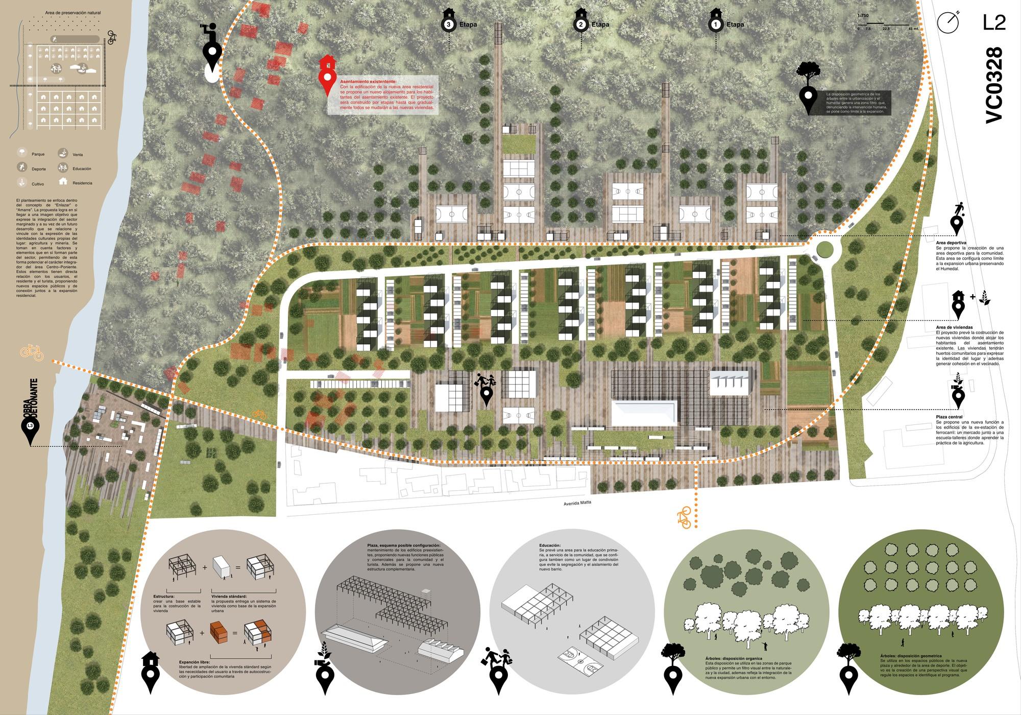 Chile: presentan proyectos ganadores de concurso para estudiantes sobre integración urbana en Vallenar, Primer Lugar: Lámina #02. Image Cortesia de TECHO - Chile