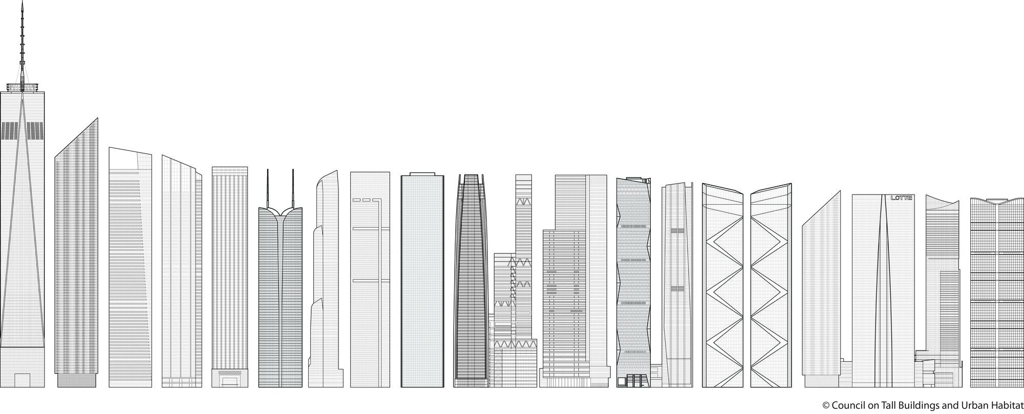 20 edificios más altos del 2014. Imágen © CTBUH